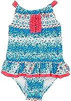 Floatimini Little Girls' Flower Petal Border Print Back Neck Tie One Piece Swimsuit
