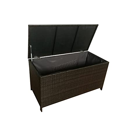 westwood garden furniture rattan storage box lid woven chest basket rh amazon co uk