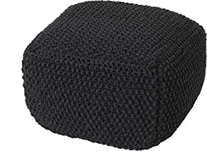 Christopher Knight Home Joyce Knitted Cotton Square Pouf, Dark Grey
