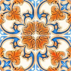 Mi Alma Backsplash Peel and Stick Tile Stickers 24 PC Set Authentic Tile Decals Bathroom & Kitchen Vinyl Wall Decals Easy to Apply Just Peel & Stick Home Decor (4x4 Inch, Vintage Orange H7)