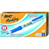 BIC Mark-It Permanent Markers, Ultra Fine Point, Blue, 12 Markers
