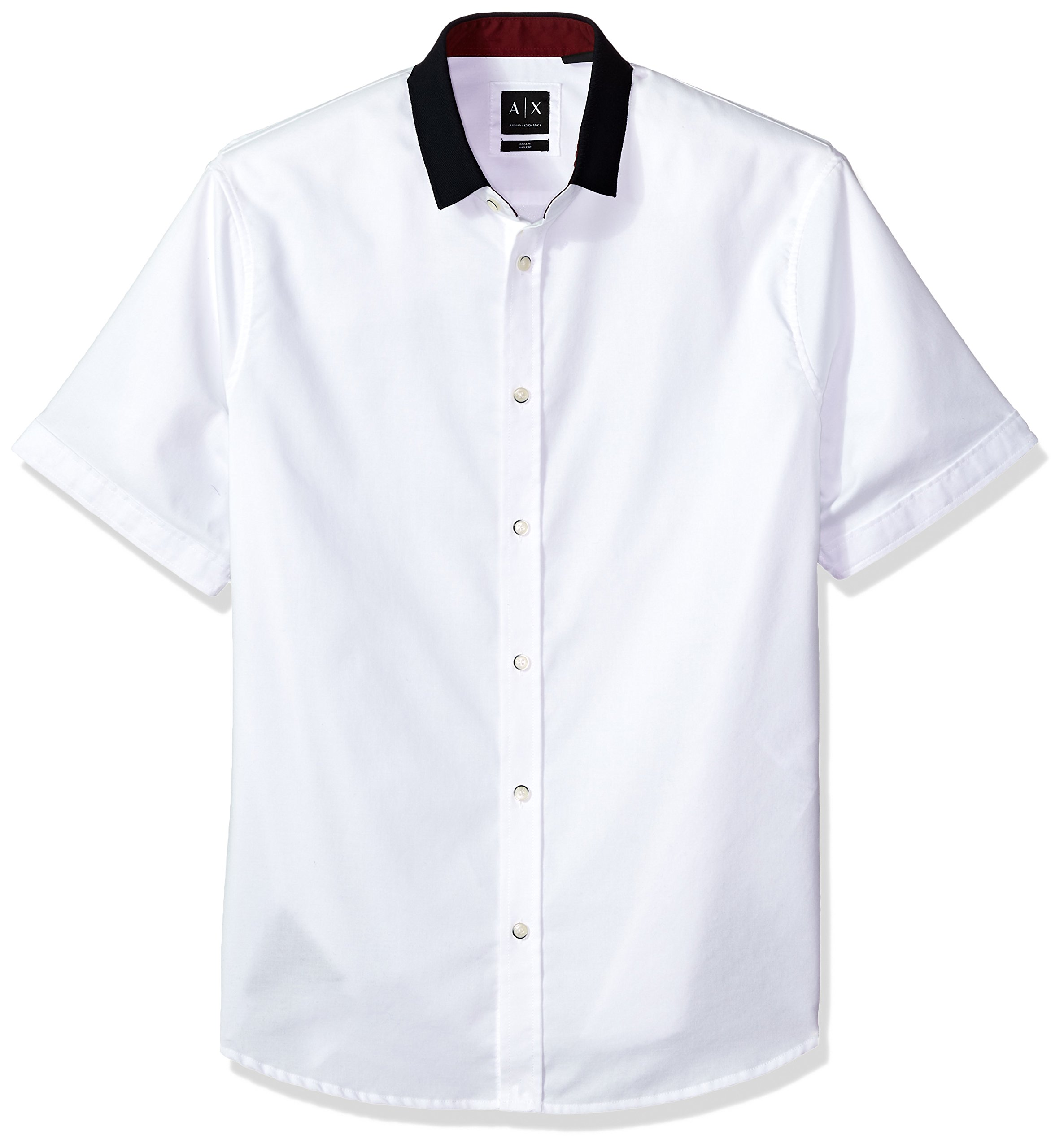 A|X Armani Exchange Men's Short Sleeve Shirt with Solid Colar, White, L