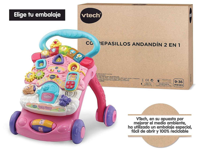 Vtech- Correpasillos Andandín 2 en 1, Diseño Mejorado, Plegable y Regulador de Velocidad, SPB, Color rosa (80-505687)