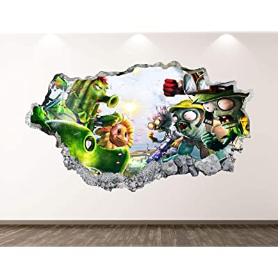 "West Mountain Plants Vs Zombies Wall Decal Art Decor 3D Smashed Kids Game Sticker Mural Nursery Boys Gift BL14 (22"" W x 14"" H): Home & Kitchen"
