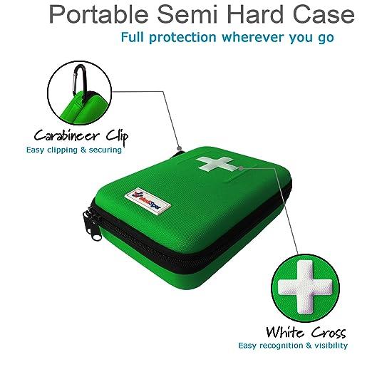 Botiquín de primeros auxilios de 100 piezas MediSpor, estuche semirrígido (verde): Amazon.es: Salud y cuidado personal