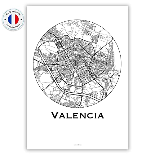 Cartel Valencia España Minimalista Mapa - City Map, decoración ...