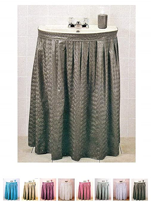new arrival a7766 5912a Better Home Premium Vinyl Sink Skirt Bath Vanity Cover Luxurious Designed,  Water Repellent (Brown)
