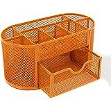 Mesh Office Desk Tidy Organiser Desktop Multi-functional Storage Box with Drawers,Orange