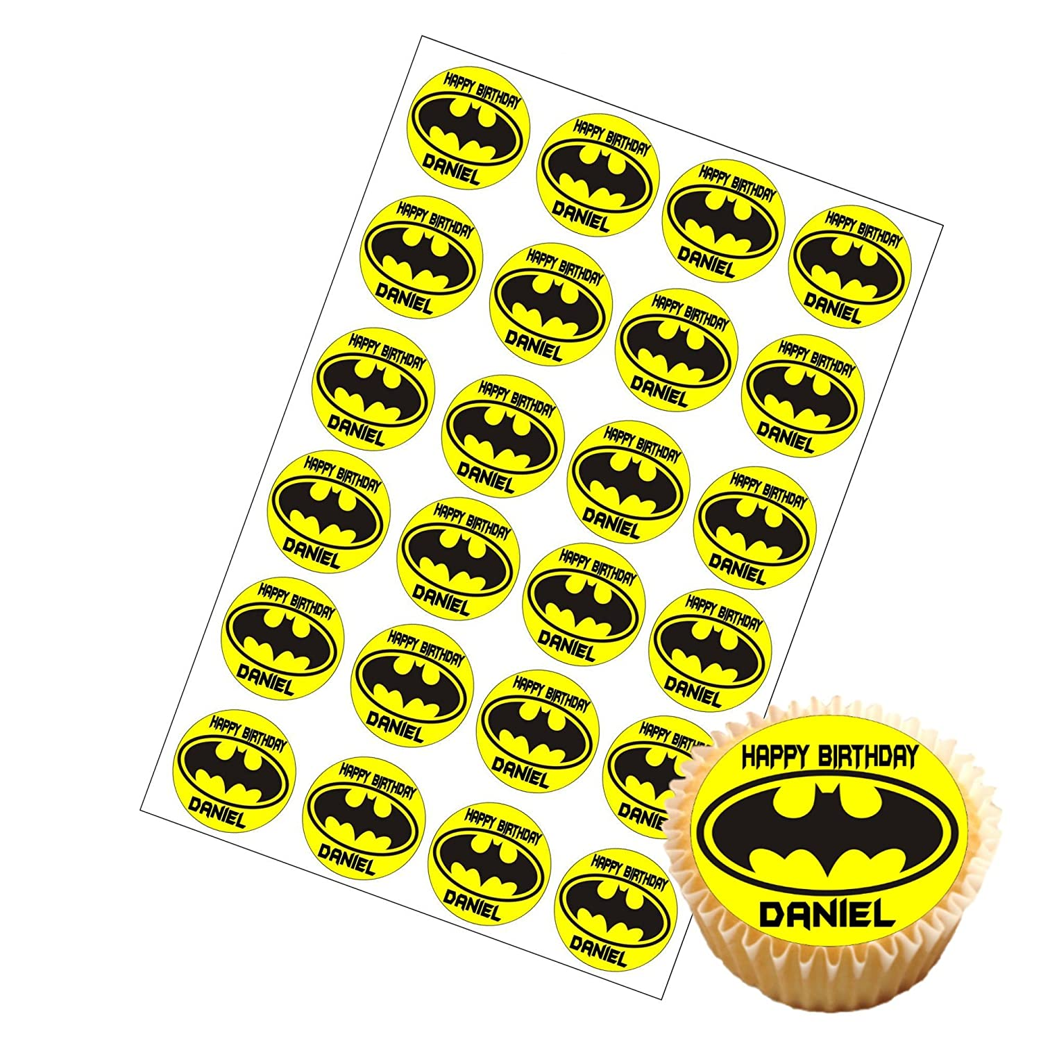 Batman 75 Round personalised birthday cake topper printed on icing