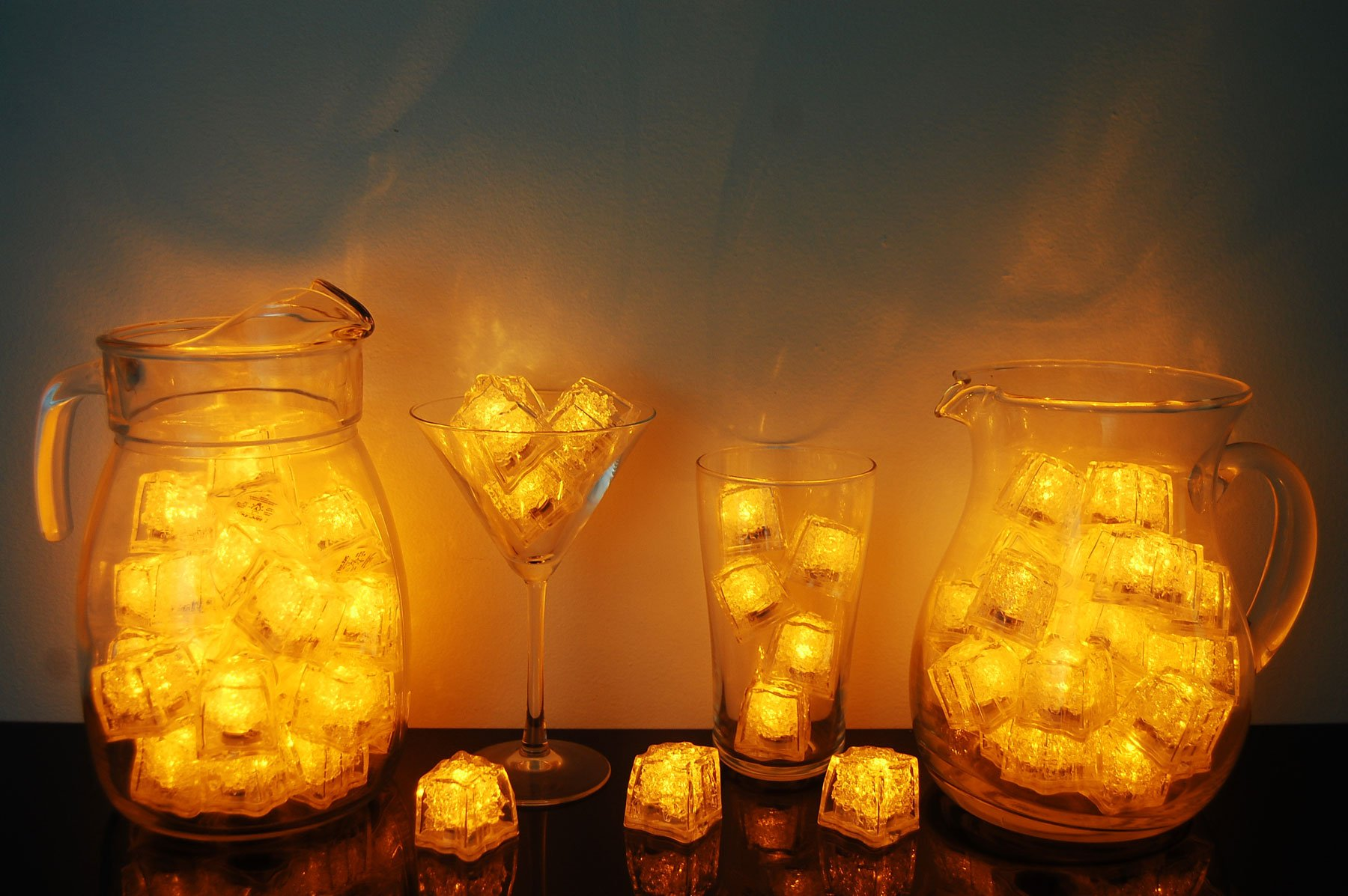 Set of 72 Litecubes Brand 3 Mode Yellow Light up LED Ice Cubes by LiteCubes