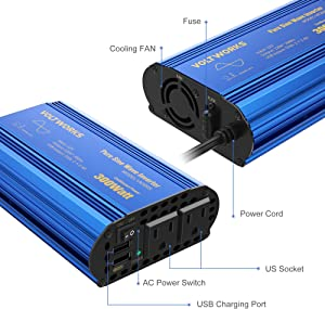 300W Pure Sine Wave Power Inverter for Car Truck RV by VOLTWORKS