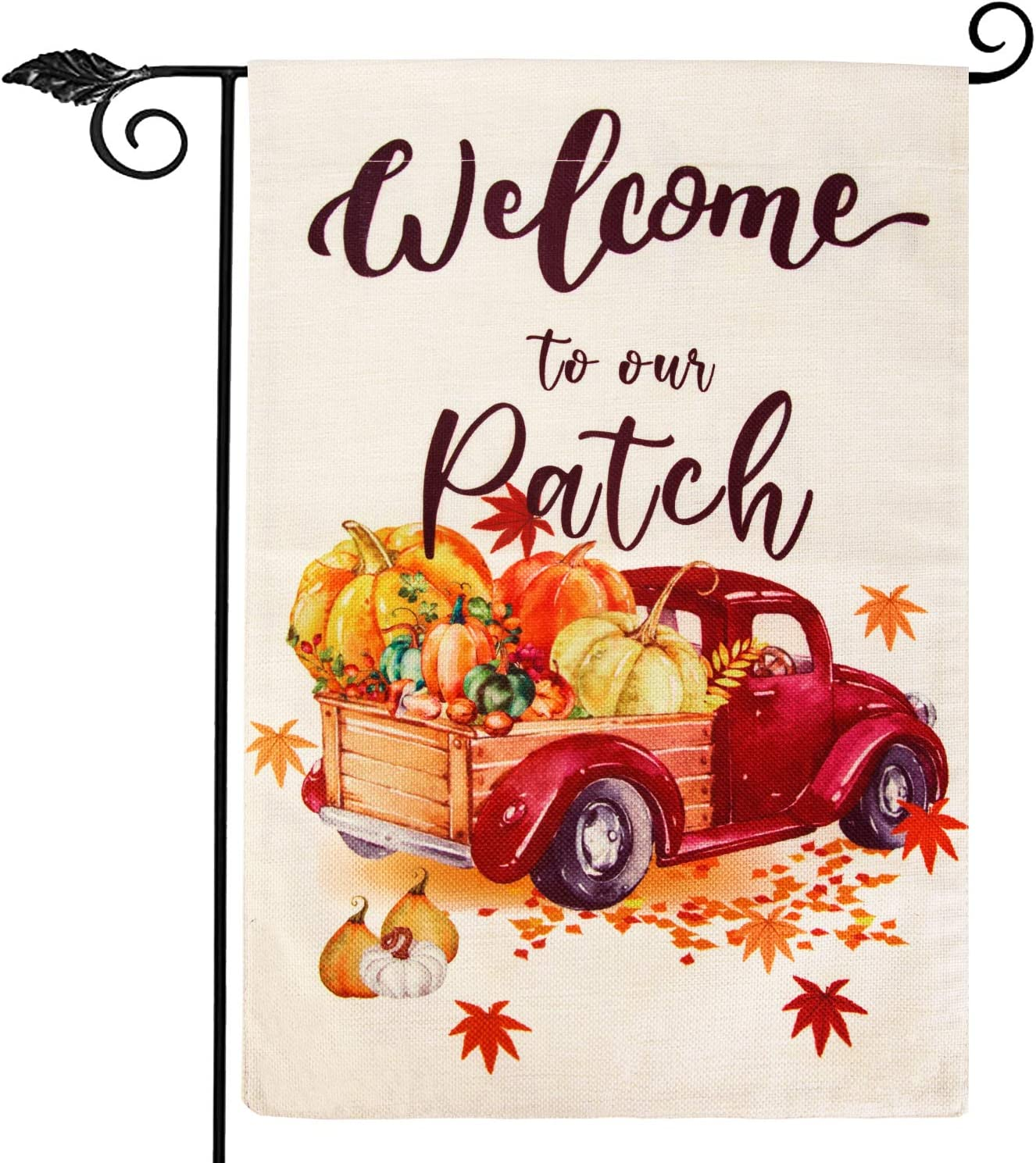 Fall Garden Flag 12.5 x 18 Inch, Pumpkin Fall Leaves Thanksgiving Flag, Double Sided Thanksgiving Garden Flag Autumn Yard Flag Outdoor Farmhouse Decorations