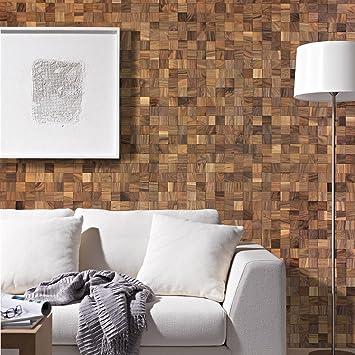Wodewa Wandverkleidung Holz 3D Optik I Nussbaum I 30x30cm Netz Wandpaneele  Moderne Wanddekoration Holzverkleidung Holzwand Wohnzimmer