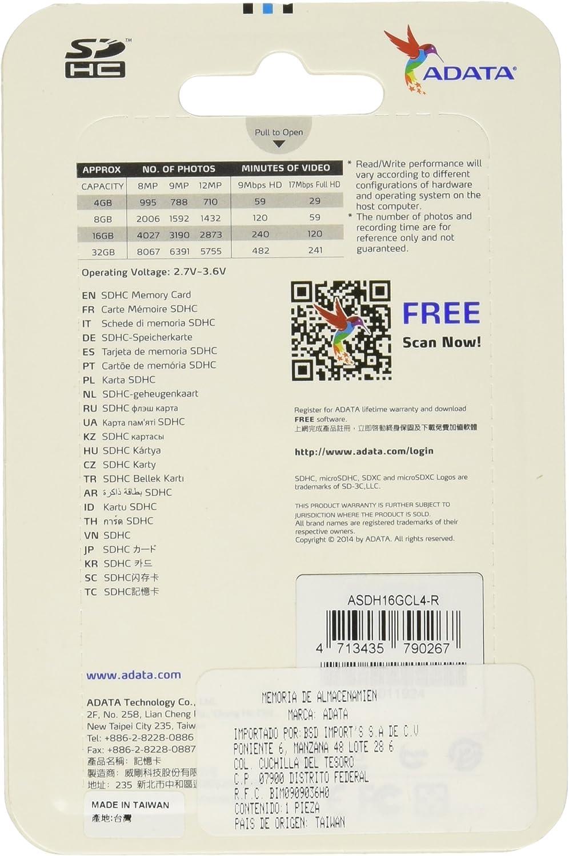 ADATA 32GB SDHC Class 4 Memory Card (ASDH32GCL4-R)