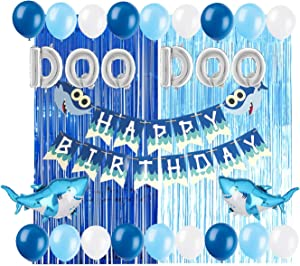 Baby Shark Party Supplies Decorations DOO DOO Foil Balloons Shark Birthday Banner for Boy Girl Baby Shower 1st 2nd 3rd Birthday Party Set Tinsel Curtain Backdrop