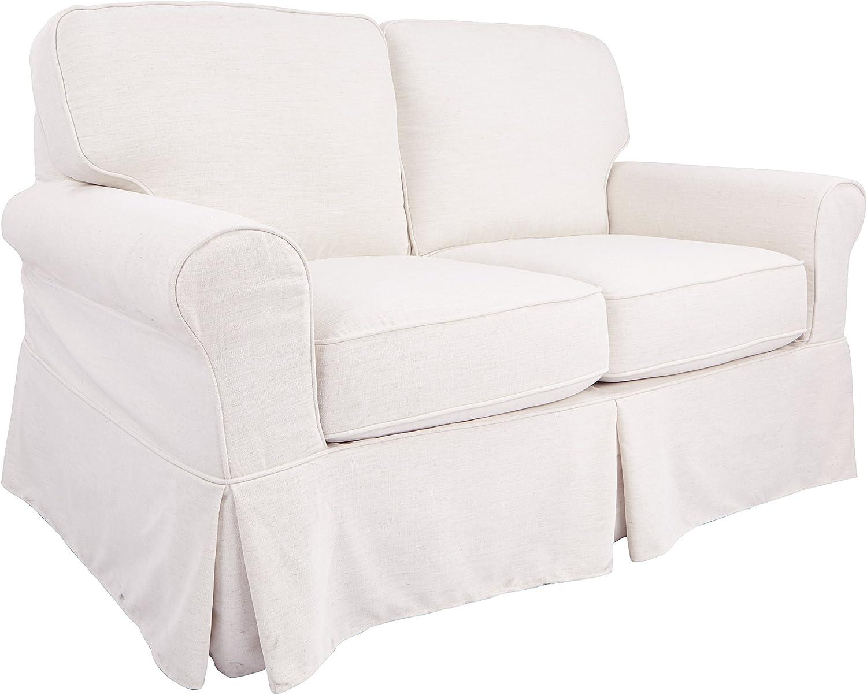 OSP Home Furnishings Ashton Slipcover Round Arm Loveseat, Ivory