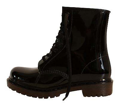 Erogance Damen Gummistiefel Regen Stiefel Stiefeletten Boots AG01, Schwarz (Black), 37 EU