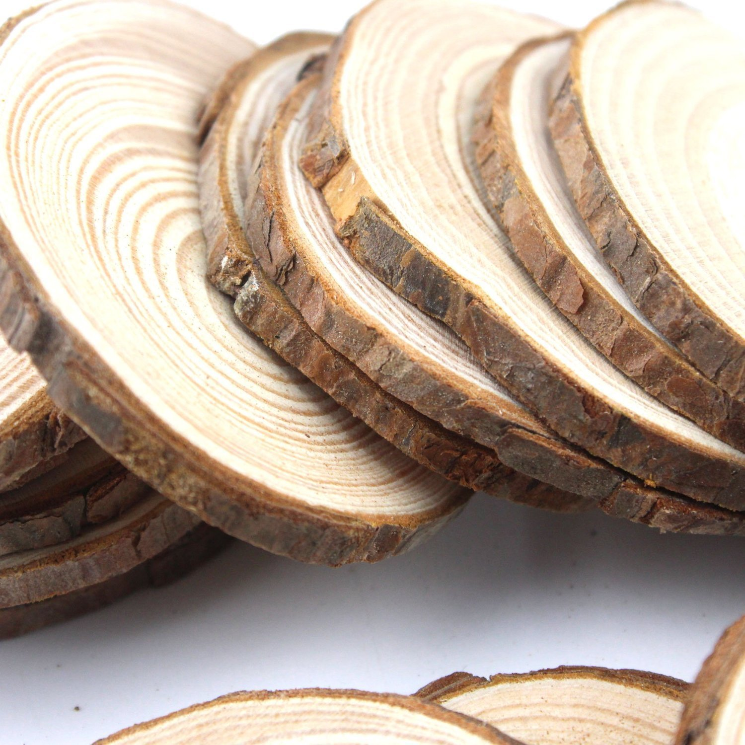 Coco Unpainted Natural Round Blank Wood Slices With Tree Bark