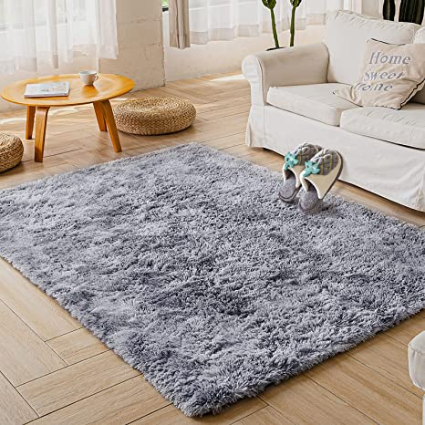 Area Rug Luxury Velvet Fluffy Grey Modern Rugs Bedroom Living Room Indoor Carpet