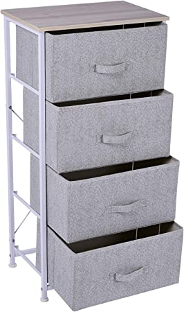 HOMCOM Cajonera Cómoda Organizador con 4 Cajones de Tela Mesilla de Noche para Dormitorio Salón Armario con Cajones 45x30x92cm Organizador Almacenaje: Amazon.es: Juguetes y juegos