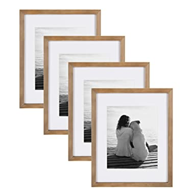 DesignOvation Gallery Wood Photo Frame Set for Customizable Wall Display, Pack of 4, 11x14 matted to 8x10, Rustic Brown