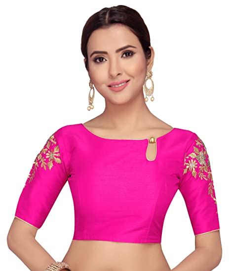 bb29f63ff3572e STUDIO SHRINGAAR WOMEN'S POLY RAW SILK ROYAL BLUE READYMADE SAREE BLOUSE  WITH SLEEVES EMBROIDERY: Amazon.in: Clothing & Accessories