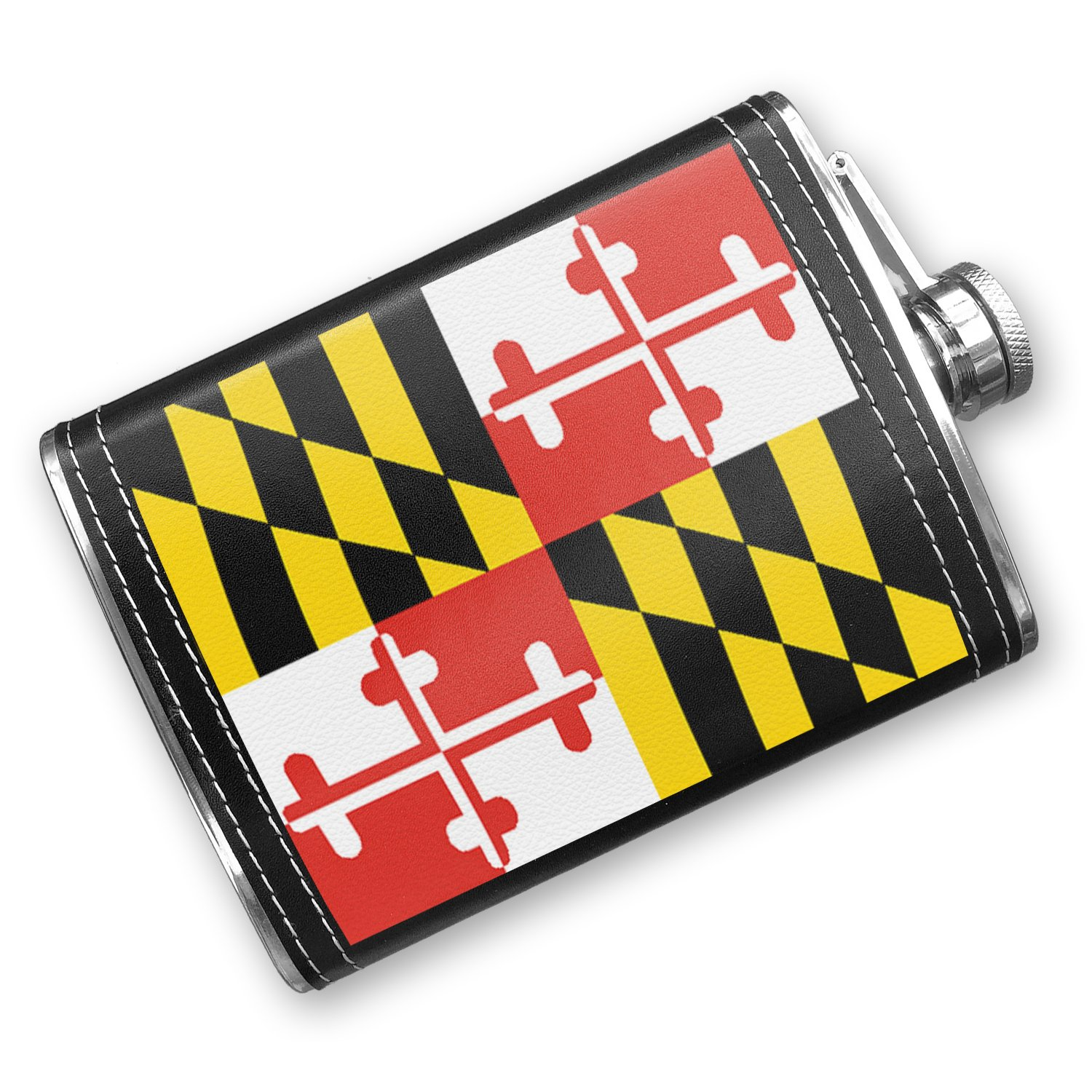 8oz Flask Stitched Maryland Flag region: America (USA) Stainless Steel - Neonblond