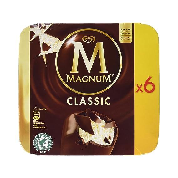 Magnum - Clásico - Helado de Vainilla con Chocolate con Leche - 6 x 80 g