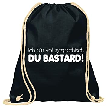 Loose Publicidad técnica/TURN Bolsa con texto/con el texto en inglés: Ich bin Completo sympa mesa Du Bastard/bolsa: Negro/mochila/yute Bolsa/Bolsa De ...
