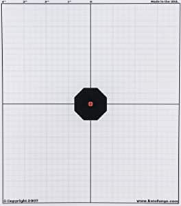 Listo Fuego Simple Zero Target (Pack of 25 Paper Targets), Rifle Sight in Target, for Electronic and Iron Sights, Easy to See, Shooting Targets, Zeroing, 25m / 25 Yard Target, Targets for Shooting