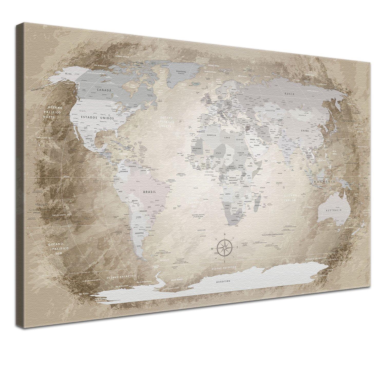 """LANA KK - Weltkarte Leinwandbild mit Korkrückwand zum pinnen der Reiseziele – """"Worldmap Beige  - spanisch - Kunstdruck-Pinnwand Globus in braun, einteilig & fertig gerahmt in 60x40cm"""