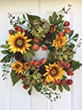 Autumn Elegance Yellow Sunflower Wreath For Summer And Fall Front Door or Year Round Indoor Home Decor