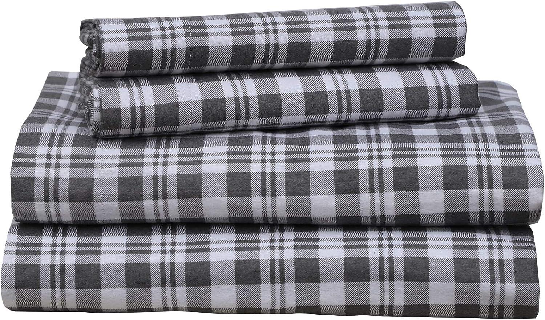 4 Pc Sleepdown 160 GSM Durable Cotton Winter Flannel Sheet Set Full Ticking Stripe