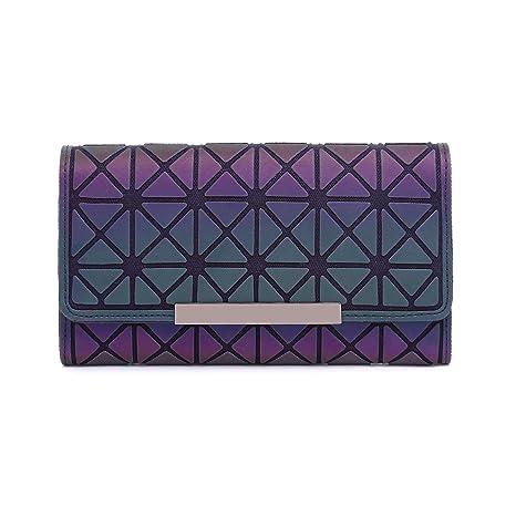 Billetera Geométrico Cartera Moda Enrejado Luminoso Tríptico Larga Sección Billetera para Mujer NO.1