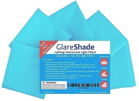 976b9ef4a8130 GlareShade Fluorescent Light Filter Diffuser Covers (5 Pack  Blue Color).  Eliminate Harsh
