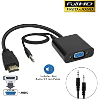 pibox India Gold-Plated HDMI to VGA Adapter with Audio (Male to Female) for Computer, Desktop, Laptop, PC, Monitor, Projector, HDTV, Raspberry Pi, Media Players, Xbox and More -Black