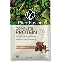 PlantFusion Complete Plant Based Pea Protein Powder | Dietary Supplement |Non-GMO, Vegan, Dairy Free, Gluten Free, Soy Free | Allergy Free w/Digestive Enzymes, Chocolate, 12 Single Packs