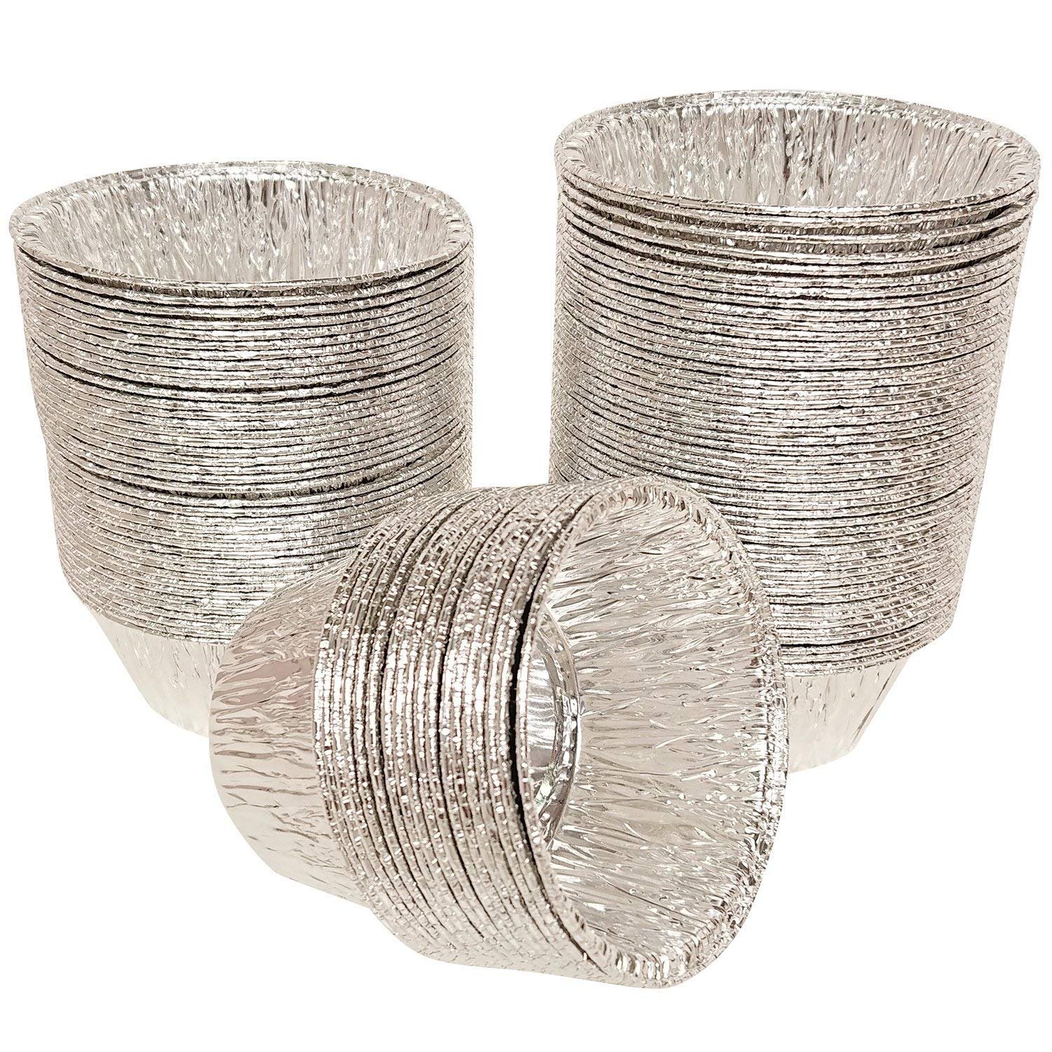 Axe Sickle 150Pcs Disposable Baking Cups Tin Foil Pans Cups, 4 oz Aluminum Foil Cupcake Bowl Pans, Muffin Ramekin Utility Cup, Hot Cold Freezer Roasting Baking Oven Safe.