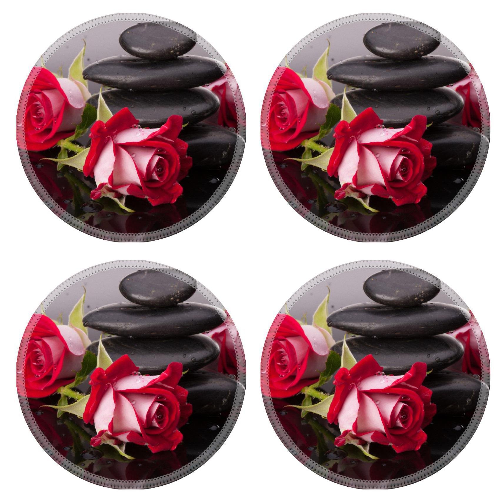 MSD Round Coasters Non-Slip Natural Rubber Desk Coasters design 24288563 Spa stone and rose flowers still life Healthcare concept