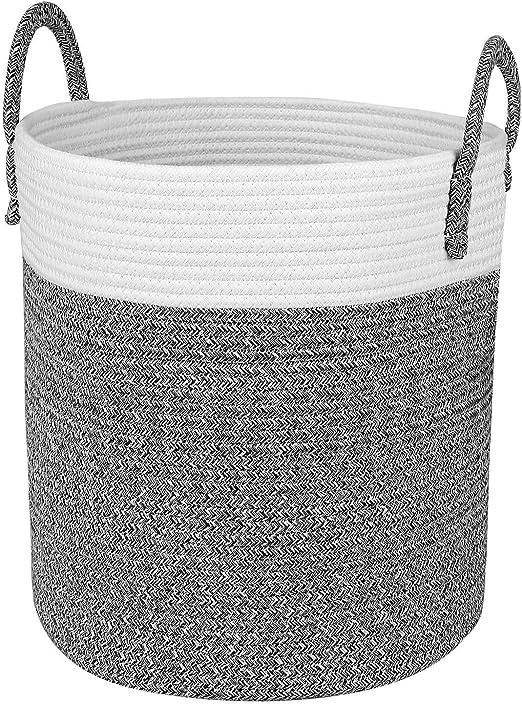 Homfa Cesto para Colada 100L Cesto de Ropa de Almacenamiento de Cuerda de Algodón Natural para Salón Dormitorio Baño 33 x 38 x 33cm Blanco y Gris: Amazon.es: Hogar