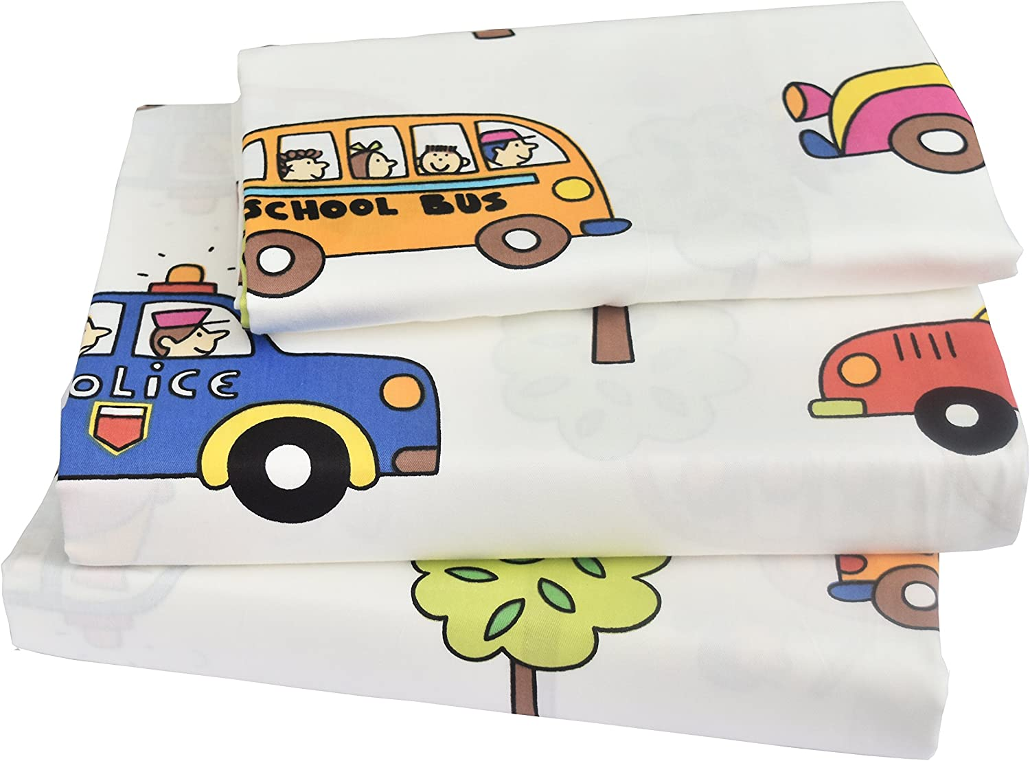 J-pinno Kids Boy Girl Cartoon School Bus Police car Fire Engines, 100% Cotton 210 Thread Count 3-Pieces Twin Bedding Set, Flat Sheet + Fitted Sheet + Pillowcase (1)