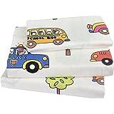 Kids Boy Girl Cartoon School Bus Police car Fire engines, 100% Cotton 210 Thread Count 3-Pieces Twin Bedding Set, Flat Sheet + Fitted Sheet + Pillowcase (1)