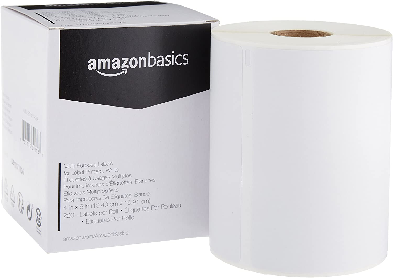 AmazonBasics Multi-Purpose Labels for Label Printers, White, 4 x 6 Inch, 220 Labels per Roll, 1 Roll