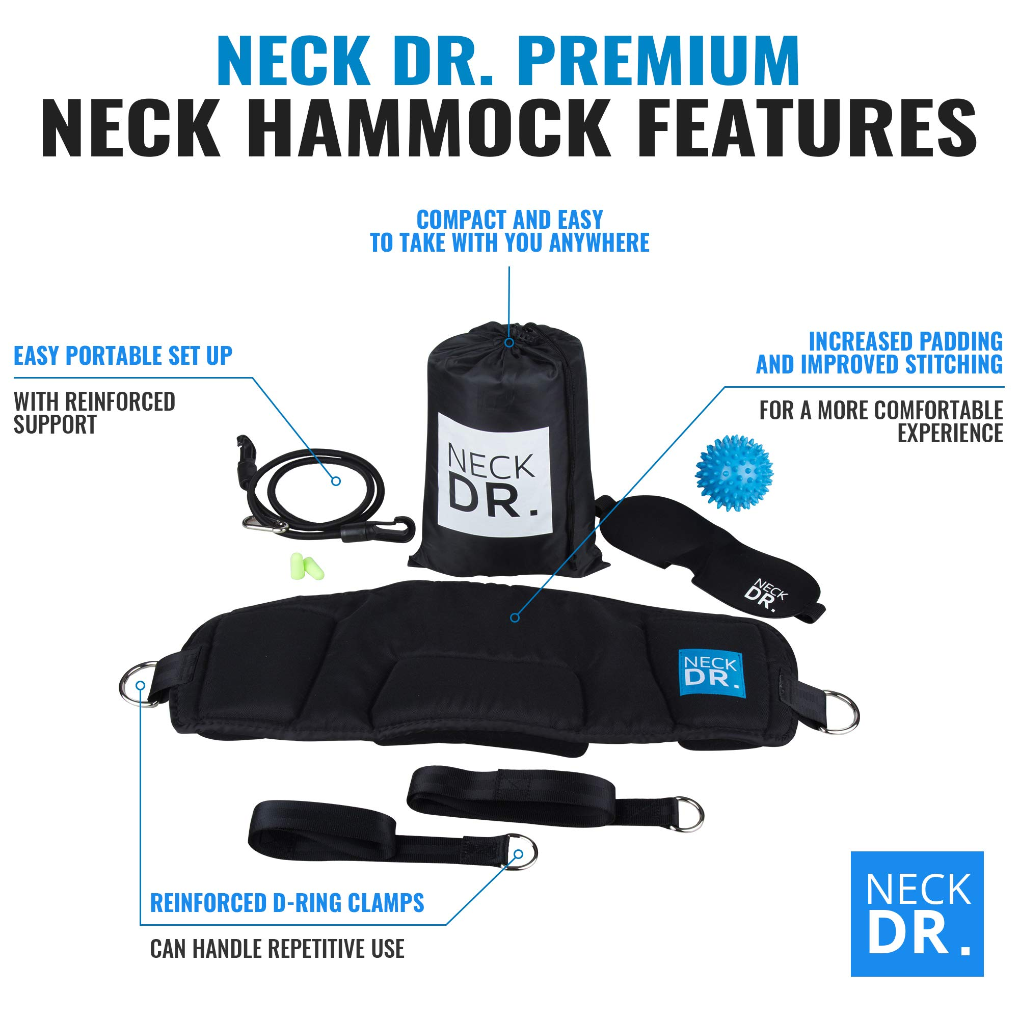 NECK DR. Premium Neck Hammock/Portable Traction Device – Neck Comfort, Cervical Compression Relief, Relaxation Device – Bonus Items: Neck Dr. Brand Eye Mask and Spiky Massage Ball by Neck Dr. (Image #4)