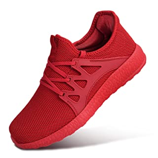 MARSVOVO Womens Road Running Jogging Walking Sports Shoes Lace-up Athletic Breathable Mesh Sneakers Red Size 10