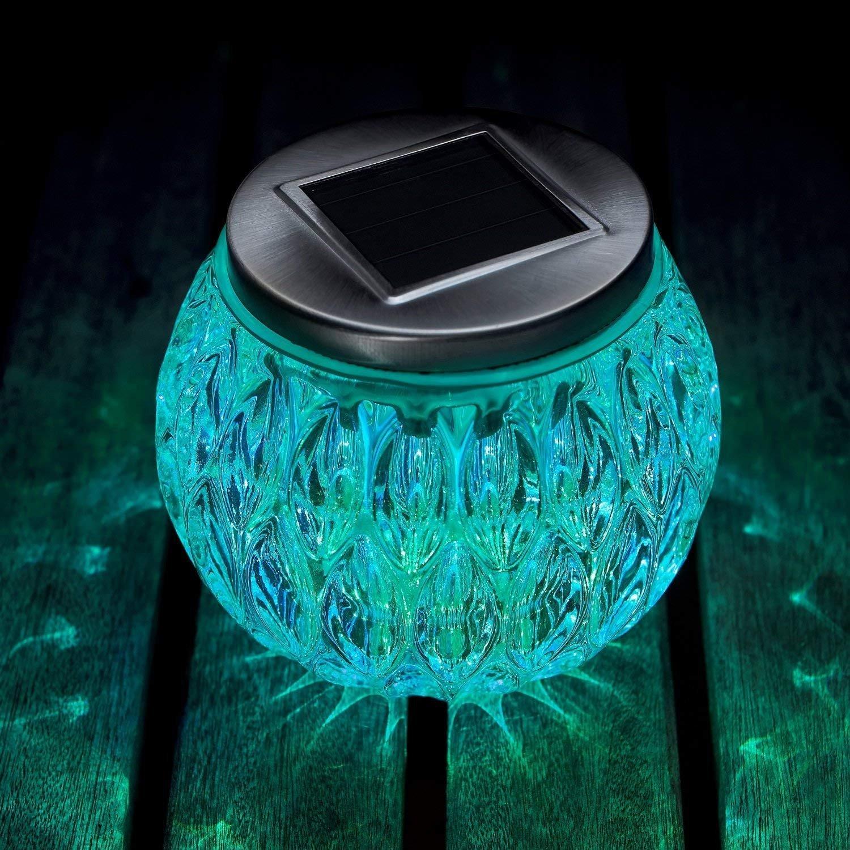 Solarleuchten Glas Tischleuchte,KINGCOO Wetterfest Kristall Glas Globe Ball Bunt Laterne LED Nachtlichter Nachttisch Tischplatte Jar Lichter f/ür Schlafzimmer Party Garten Yard Au/ßen Dekoration