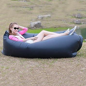 Sofá cama Lazy Beach sofá sofá-cama hinchable aire hinchable sofá sofá hinchable Saco de dormir pantofolai capa interior PE poliéster, negro: Amazon.es: ...