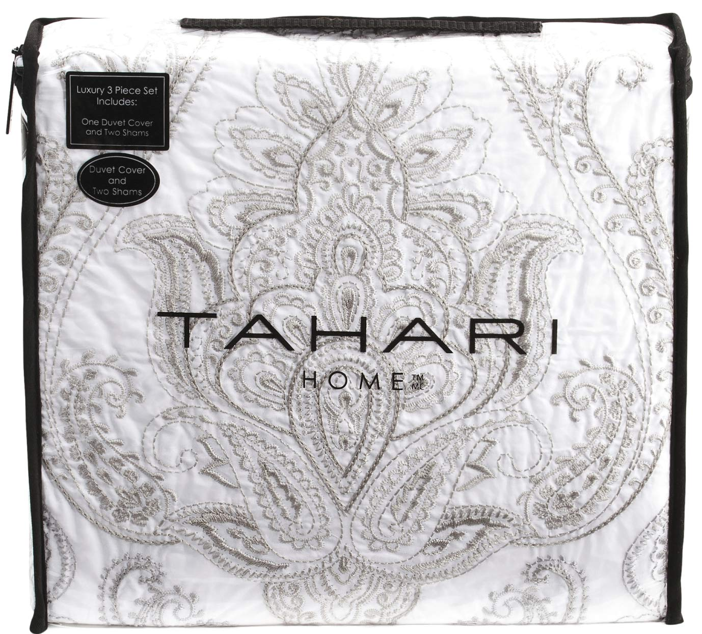 Tahari Home 100% Cotton Quilted Floral Damask 3pc Full Queen Duvet Cover Set Textured Stitching Embroidered Medallions (Silver, Queen)