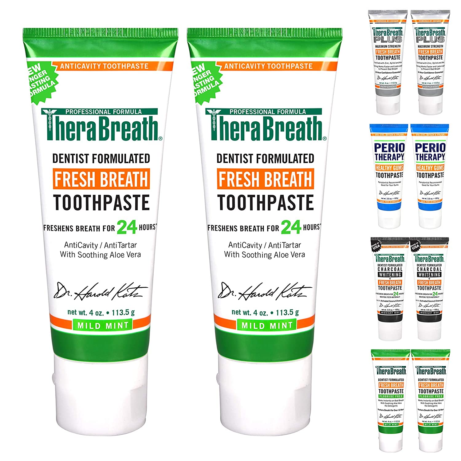 TheraBreath 24-Hour Fresh Breath Toothpaste 4 oz (Pack of 2) : Beauty