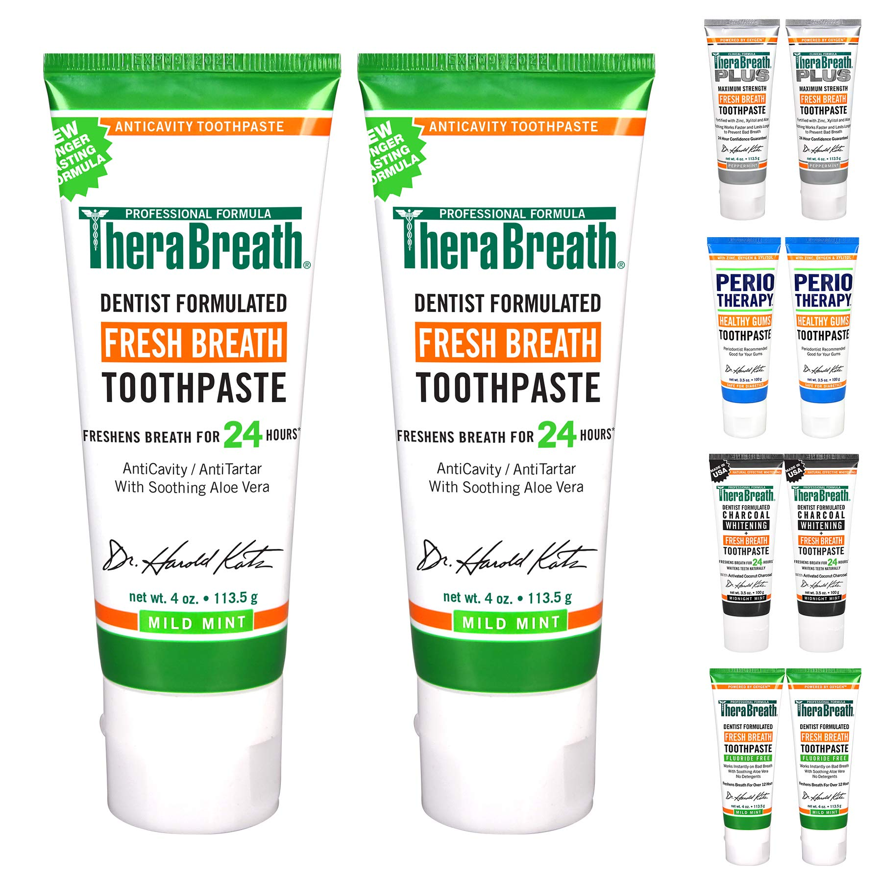 TheraBreath 24Hour Fresh Breath Toothpaste 4 oz, Regular with Fluoride, 8 Ounce, (Pack of 2)